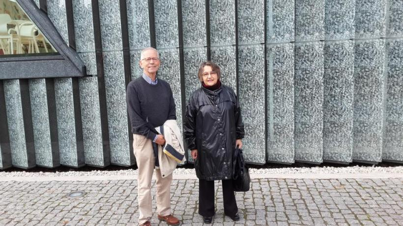 with Nabokov scholar Gerard de Vries in front of Polin, the Warsaw Jewish museum, September 2016