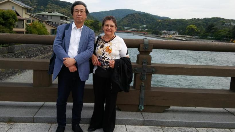"With Japanese-literature scholar Tadashi Wakashima,  President of the Nabokov Society of Japan.  On the bridge across the Uji river. the last part of ""The Tale of Genji"" is set in this region."